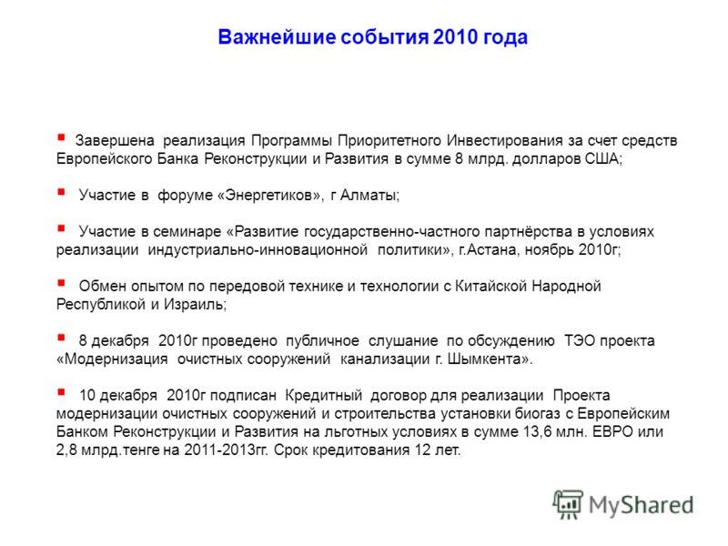 Важнейшие события 2010 года Завершена реализация Программы Приоритетного Инвестирования за счет средств Европейского Банка Реконструкции и Развития в сумме 8 млрд. долларов США; Участие в форуме «Энергетиков», г Алматы; Участие в семинаре «Развитие г