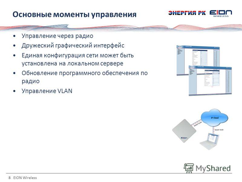 8 EION Wireless Основные моменты управления Управление через радио Дружеский графический интерфейс Единая конфигурация сети может быть установлена на локальном сервере Обновление программного обеспечения по радио Управление VLAN
