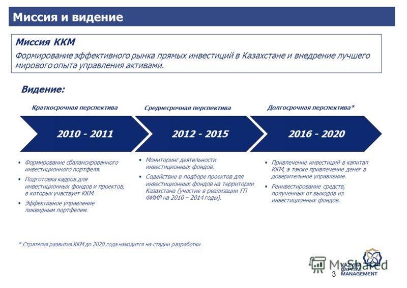 Видение: Миссия ККМ Формирование эффективного рынка прямых инвестиций в Казахстане и внедрение лучшего мирового опыта управления активами. Формирование сбалансированного инвестиционного портфеля. Подготовка кадров для инвестиционных фондов и проектов