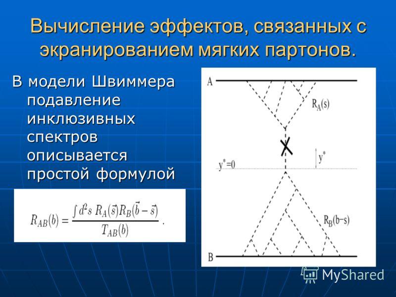 Вычисление эффектов, связанных с экранированием мягких партонов. В модели Швиммера подавление инклюзивных спектров описывается простой формулой