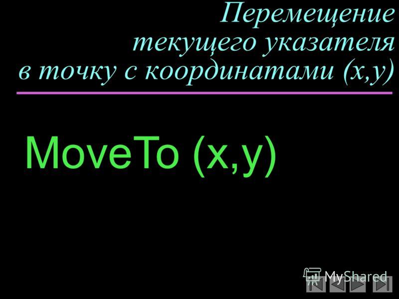 Перемещение текущего указателя в точку с координатами (x,y) MoveTo (x,y)