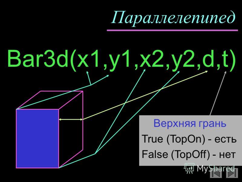 Параллелепипед Bar3d(x1,y1,x2,y2,d,t) Верхняя грань True (TopOn) - есть False (TopOff) - нет