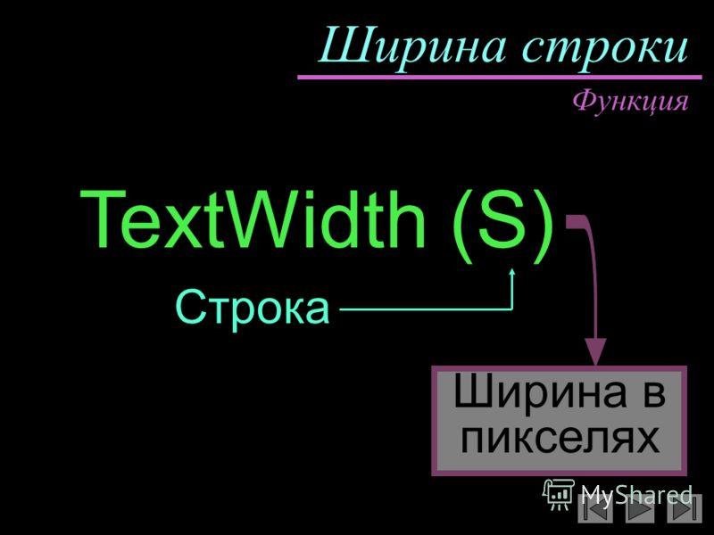 Ширина строки TextWidth (S) Ширина в пикселях Функция Строка