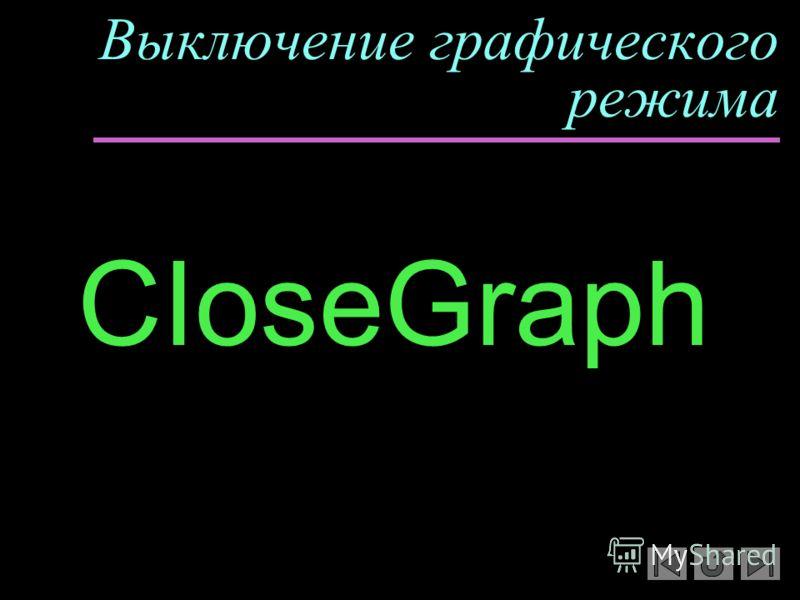 Выключение графического режима CIoseGraph y