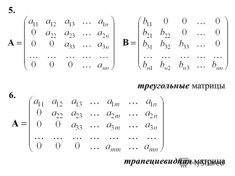5. треугольные матрицы 6. трапециевидная матрица