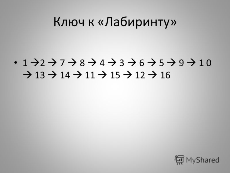 Ключ к «Лабиринту» 1 2 7 8 4 3 6 5 9 1 0 13 14 11 15 12 16