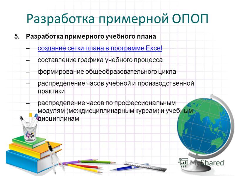 Разработка примерной ОПОП 5.Разработка примерного учебного плана –создание сетки плана в программе Excelсоздание сетки плана в программе Excel –составление графика учебного процесса –формирование общеобразовательного цикла –распределение часов учебно