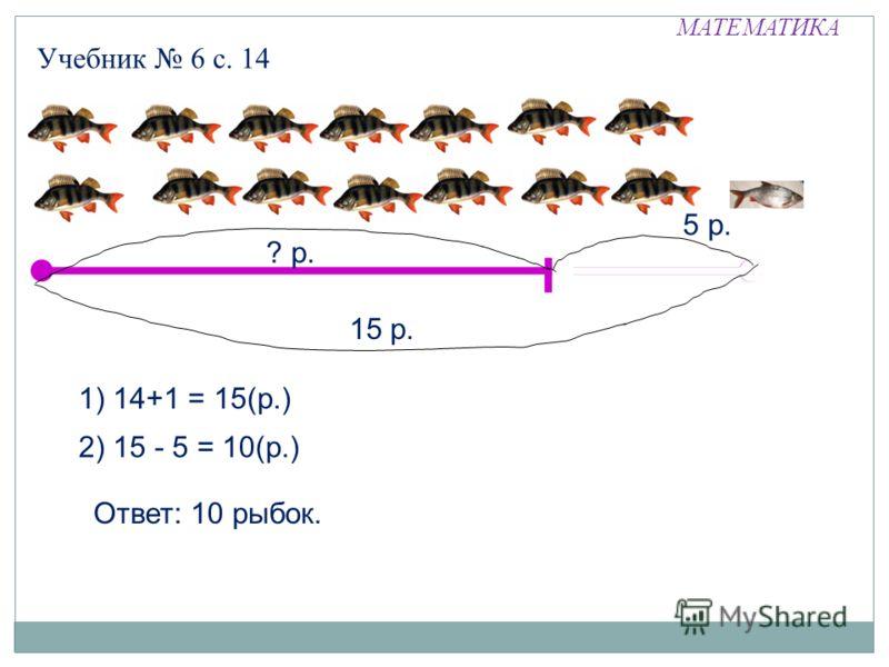 МАТЕМАТИКА Учебник 6 с. 14 15 р. 1) 14+1 = 15(р.) 2) 15 - 5 = 10(р.) 5 р. ? р. Ответ: 10 рыбок.