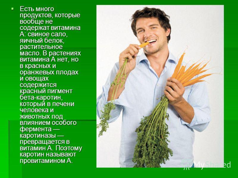 Есть много продуктов, которые вообще не содержат витамина А: свиное сало, яичный белок, растительное масло. В растениях витамина А нет, но в красных и оранжевых плодах и овощах содержится красный пигмент бета-каротин, который в печени человека и живо