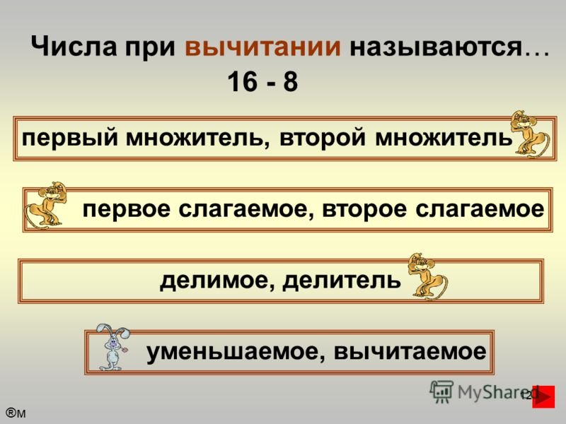 12 Числа при вычитании называются… первый множитель, второй множитель первое слагаемое, второе слагаемое уменьшаемое, вычитаемое делимое, делитель 16 - 8 ®м®м
