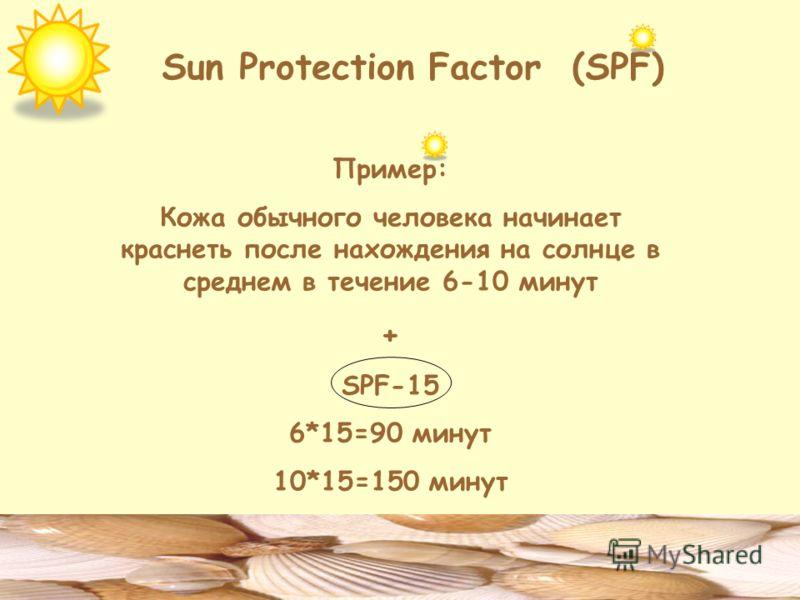 Sun Protection Factor (SPF) Пример: Кожа обычного человека начинает краснеть после нахождения на солнце в среднем в течение 6-10 минут + SPF-15 6*15=90 минут 10*15=150 минут