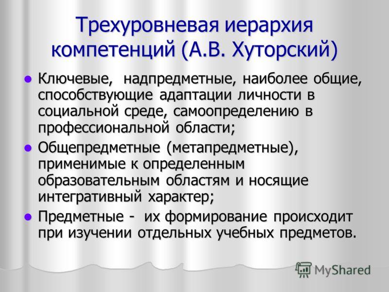 Трехуровневая иерархия компетенций (А.В. Хуторский) Ключевые, надпредметные, наиболее общие, способствующие адаптации личности в социальной среде, самоопределению в профессиональной области; Ключевые, надпредметные, наиболее общие, способствующие ада