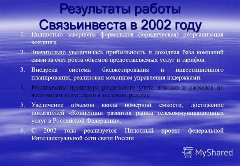 Результаты работы Связьинвеста в 2002 году 1.Полностью завершена формальная (юридическая) реорганизация холдинга. 2.Значительно увеличилась прибыльность и доходная база компаний связи за счет роста объемов предоставляемых услуг и тарифов. 3.Внедрена