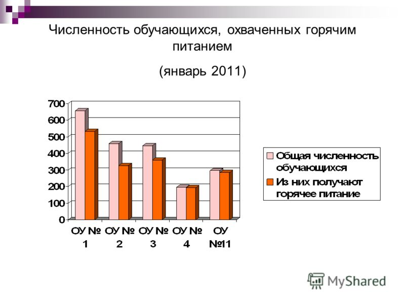 Численность обучающихся, охваченных горячим питанием (январь 2011)