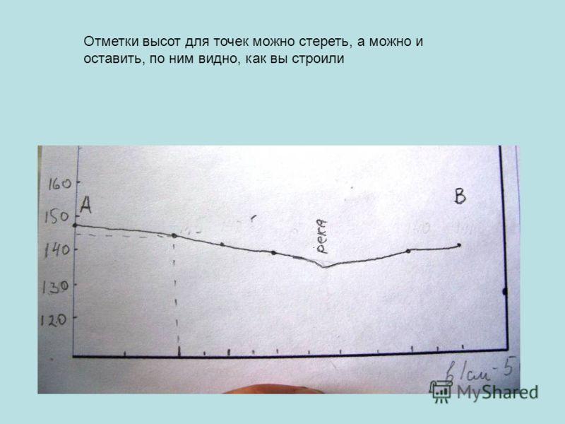 Отметки высот для точек можно стереть, а можно и оставить, по ним видно, как вы строили