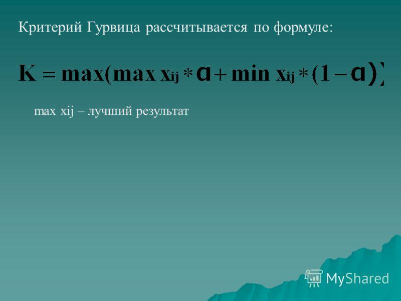Критерий Гурвица рассчитывается по формуле: max xij – лучший результат