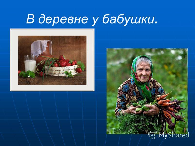 В деревне у бабушки.