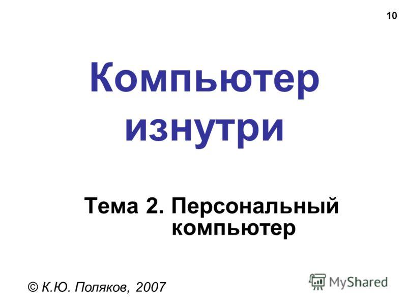 10 Компьютер изнутри © К.Ю. Поляков, 2007 Тема 2. Персональный компьютер