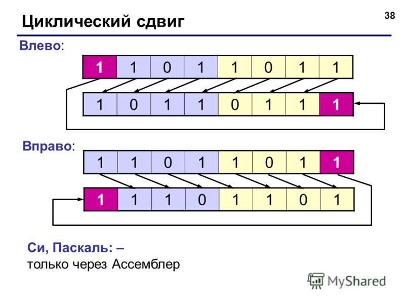 38 Циклический сдвиг 11011011 10110111 Влево: 11011011 11101101 Вправо: Си, Паскаль: – только через Ассемблер