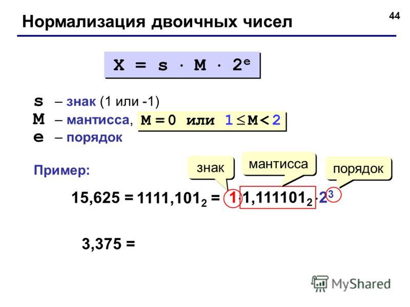 44 Нормализация двоичных чисел X = s M 2 e s – знак (1 или -1) M – мантисса, e – порядок M = 0 или 1 M < 2 15,625 = 1111,101 2 = 1 1,111101 2 2 3 знак порядок мантисса 3,375 = Пример: