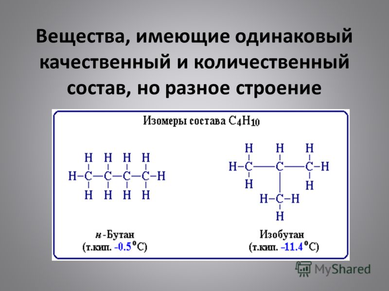 Вещества, имеющие одинаковый качественный и количественный состав, но разное строение называются изомерами
