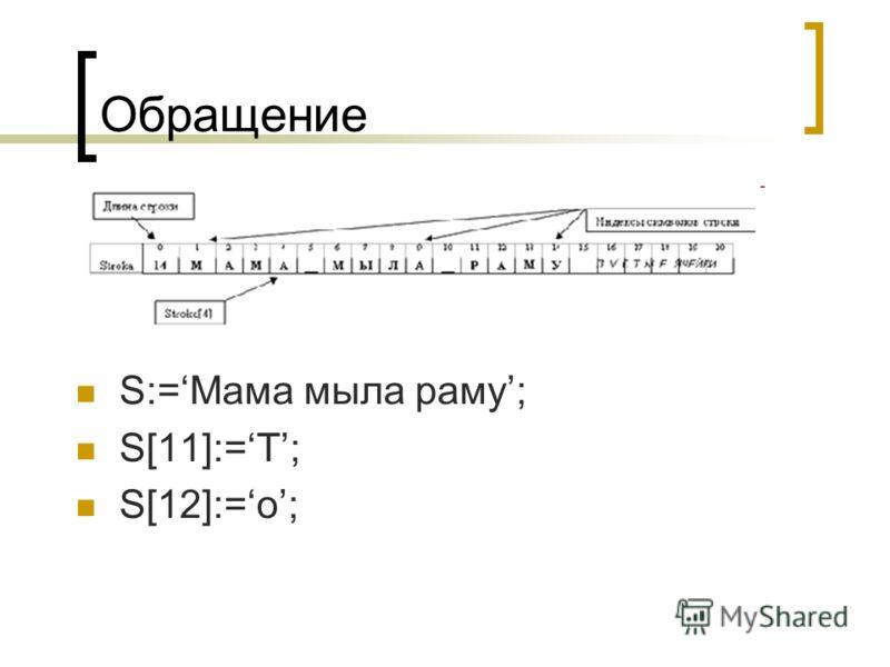 Обращение S:=Мама мыла раму; S[11]:=Т; S[12]:=o;