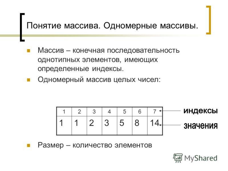Понятие массива. Одномерные массивы. Массив – конечная последовательность однотипных элементов, имеющих определенные индексы. Одномерный массив целых чисел: Размер – количество элементов 1234567 11235814