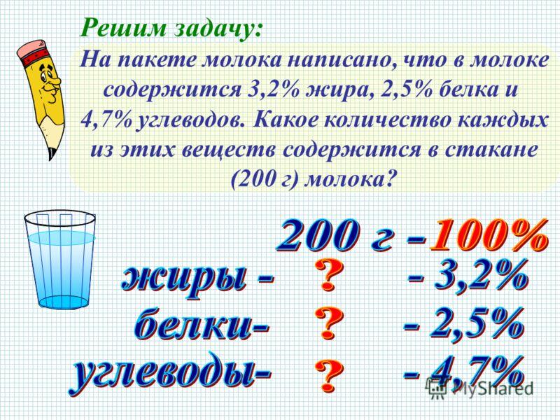 Решим задачу: На пакете молока написано, что в молоке содержится 3,2% жира, 2,5% белка и 4,7% углеводов. Какое количество каждых из этих веществ содержится в стакане (200 г) молока?