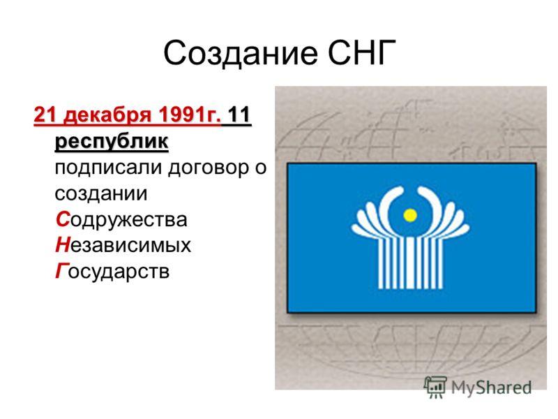 Создание СНГ 21 декабря 1991г. 11 республик 21 декабря 1991г. 11 республик подписали договор о создании Содружества Независимых Государств