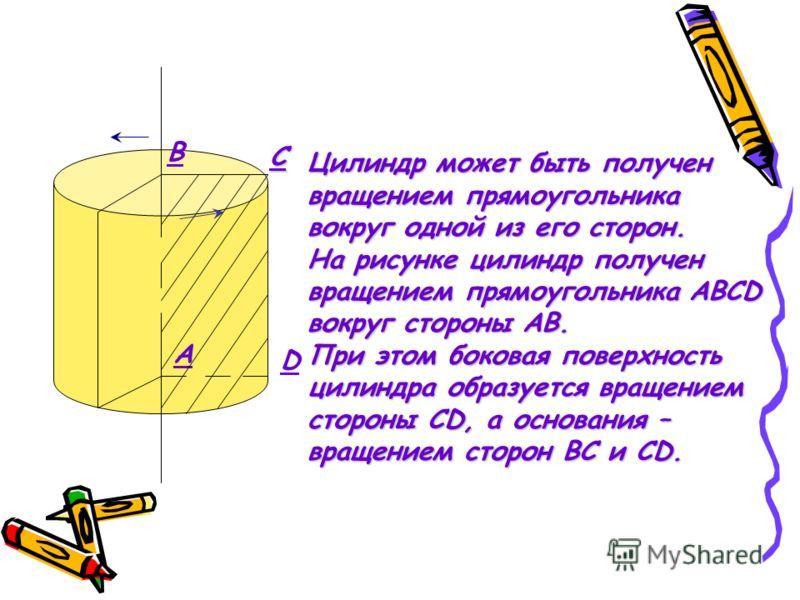 B C D A Цилиндр может быть получен вращением прямоугольника вокруг одной из его сторон. На рисунке цилиндр получен вращением прямоугольника АBCD вокруг стороны AB. При этом боковая поверхность цилиндра образуется вращением стороны CD, а основания – в