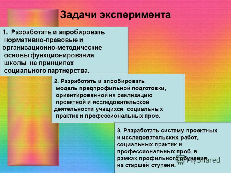 Задачи эксперимента 1.Разработать и апробировать нормативно-правовые и организационно-методические основы функционирования школы на принципах социального партнерства. 2. Разработать и апробировать модель предпрофильной подготовки, ориентированной на