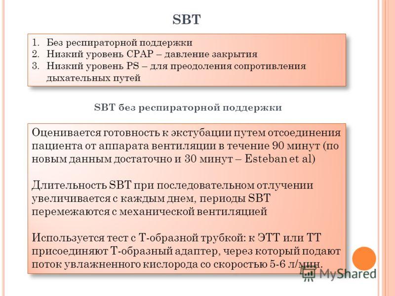 Оценивается готовность к экстубации путем отсоединения пациента от аппарата вентиляции в течение 90 минут (по новым данным достаточно и 30 минут – Esteban et al) Длительность SBT при последовательном отлучении увеличивается с каждым днем, периоды SBT