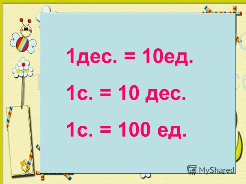1дес. = 10ед. 1с. = 10 дес. 1с. = 100 ед.