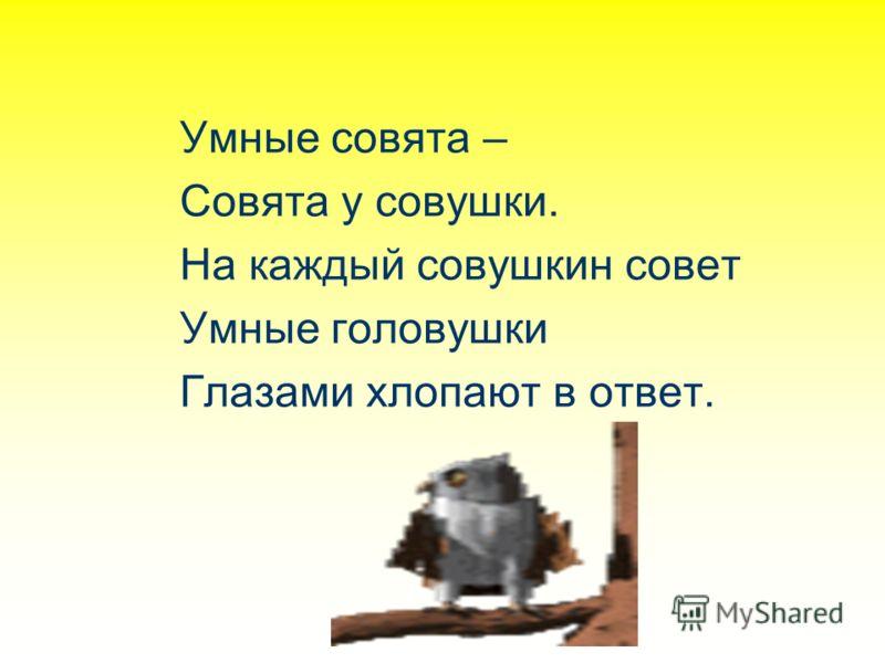 Умные совята – Совята у совушки. На каждый совушкин совет Умные головушки Глазами хлопают в ответ.