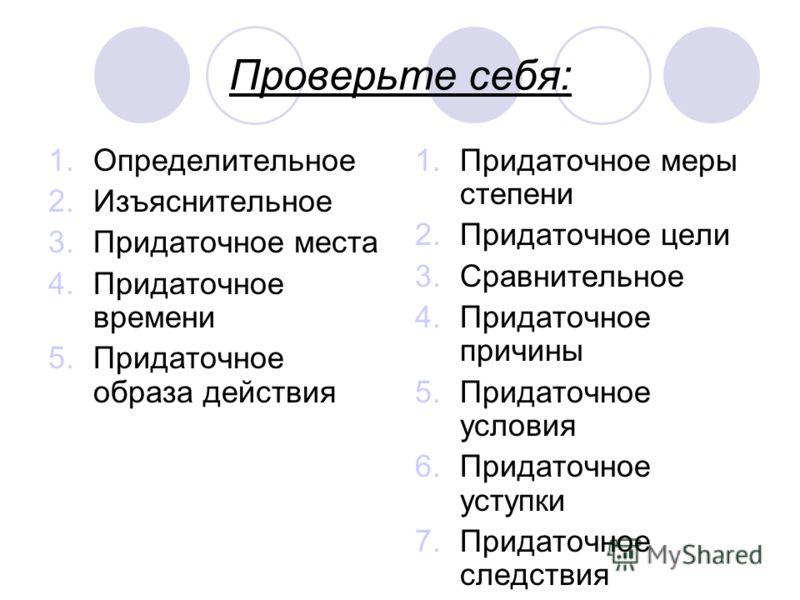 Проверьте себя: 1.Определительное 2.Изъяснительное 3.Придаточное места 4.Придаточное времени 5.Придаточное образа действия 1.Придаточное меры степени 2.Придаточное цели 3.Сравнительное 4.Придаточное причины 5.Придаточное условия 6.Придаточное уступки