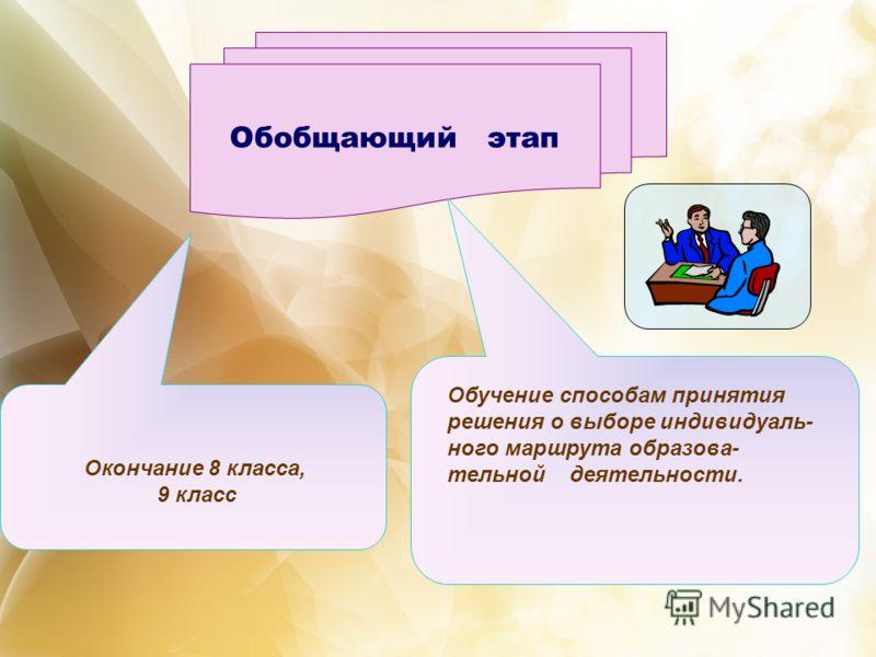 Обобщающий этап Окончание 8 класса, 9 класс Обучение способам принятия решения о выборе индивидуаль- ного маршрута образова- тельной деятельности.