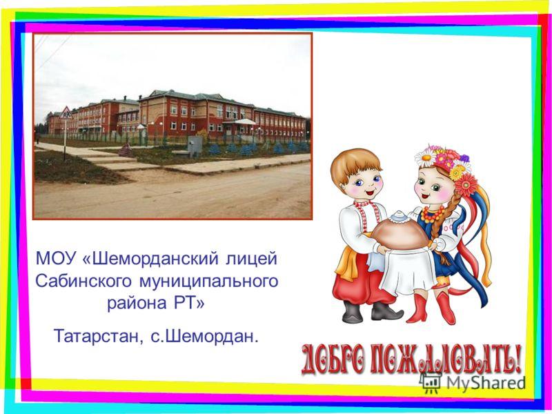 МОУ «Шеморданский лицей Сабинского муниципального района РТ» Татарстан, с.Шемордан.