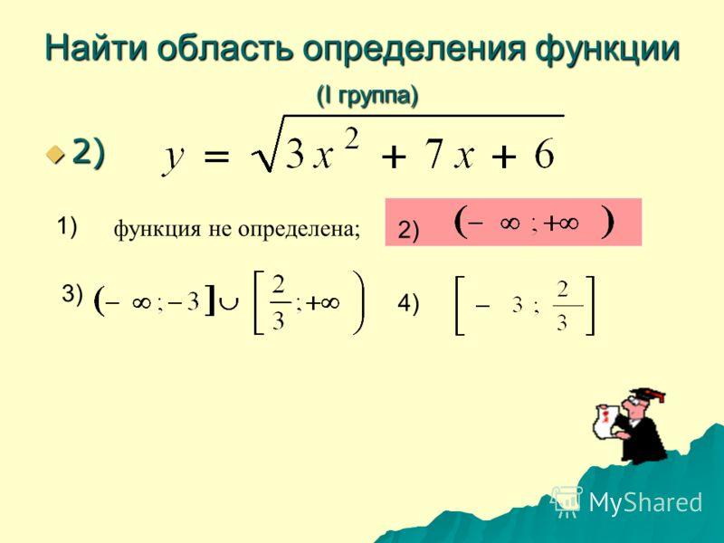 Найти область определения функции (I группа) 2) 2) 1) 2) 3) 4) функция не определена;