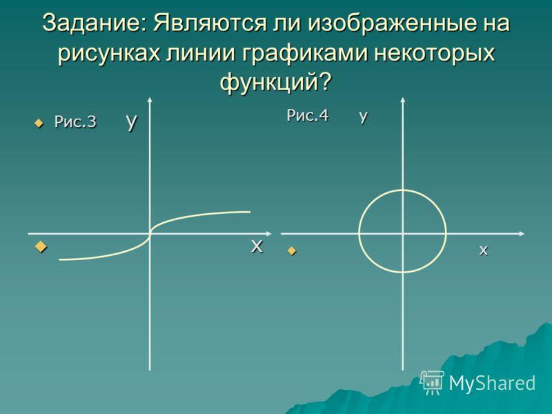 Задание: Являются ли изображенные на рисунках линии графиками некоторых функций? Рис.3 у Рис.3 у х х Рис.4 у х х