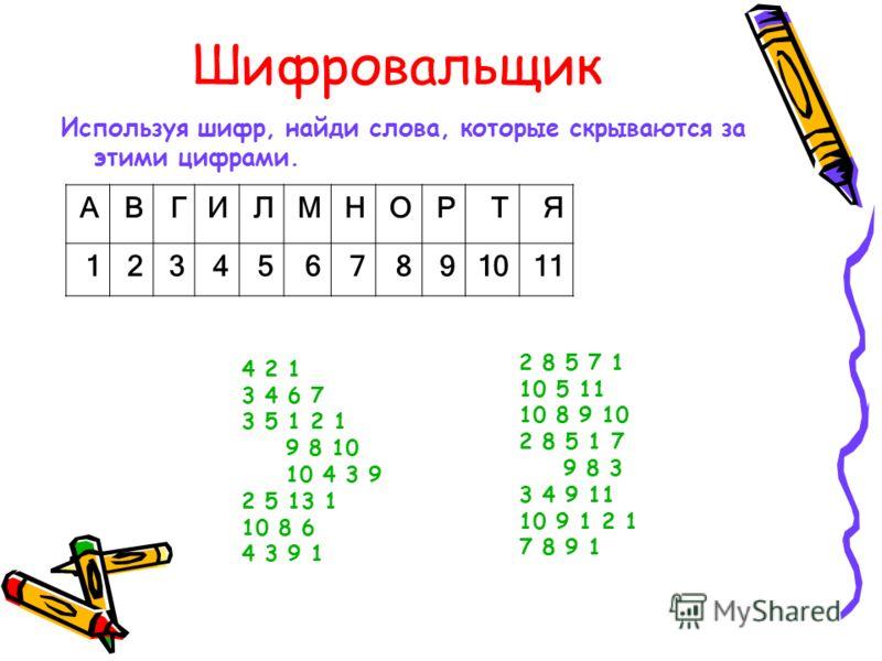 Шифровальщик Используя шифр, найди слова, которые скрываются за этими цифрами. АВГИЛМНОРТЯ 1234567891011 4 2 1 3 4 6 7 3 5 1 2 1 9 8 10 10 4 3 9 2 5 13 1 10 8 6 4 3 9 1 2 8 5 7 1 10 5 11 10 8 9 10 2 8 5 1 7 9 8 3 3 4 9 11 10 9 1 2 1 7 8 9 1