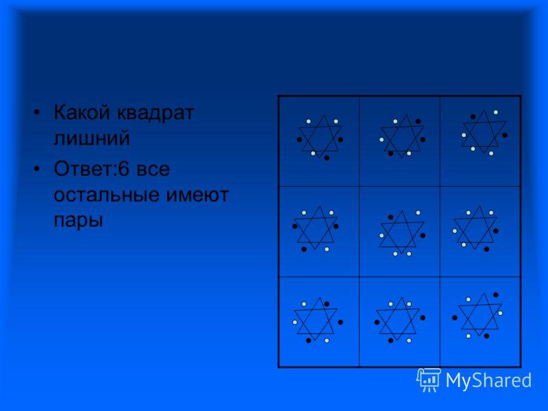 Какой квадрат лишний Ответ:6 все остальные имеют пары