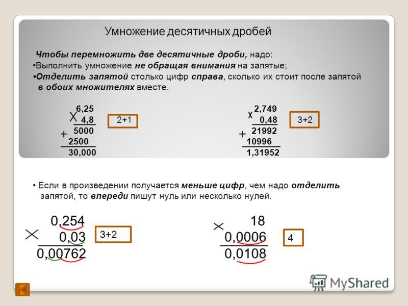 Умножение десятичных дробей Чтобы перемножить две десятичные дроби, надо: Выполнить умножение не обращая внимания на запятые; Отделить запятой столько цифр справа, сколько их стоит после запятой в обоих множителях вместе. 6,25 2,749 4,8 2+1 0,48 3+2