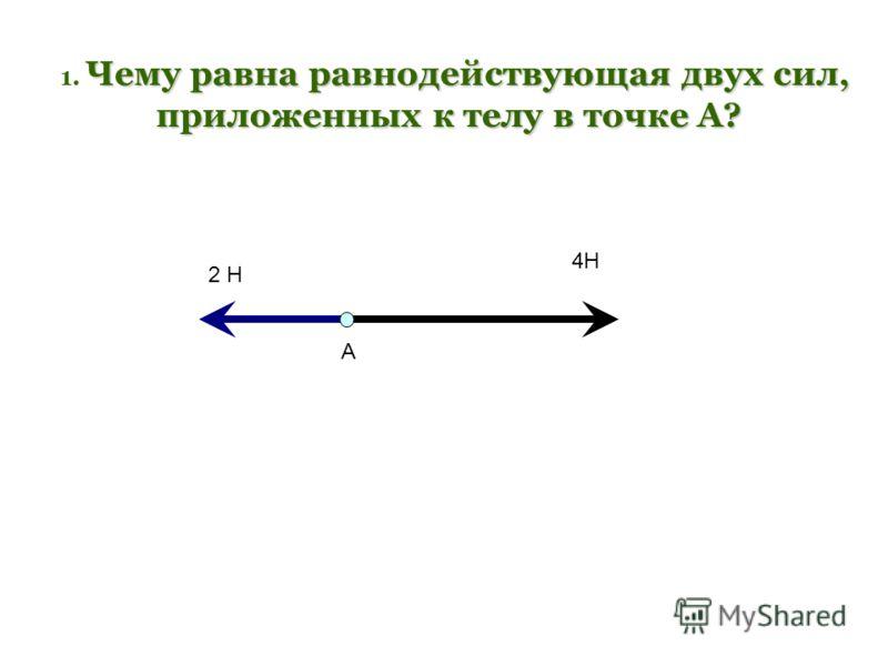Чему равна равнодействующая двух сил, 1. Чему равна равнодействующая двух сил, приложенных к телу в точке А? 2 Н 4Н А