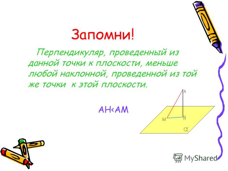 Наклонная из точки А к плоскости a В плоскости a отметим произвольную точку М, отличную от Н, и проведем отрезок АМ. Он называется наклонной, проведенной из точки А к плоскости a, а точка М – основанием наклонной. Отрезок НМ - проекция наклонной на п