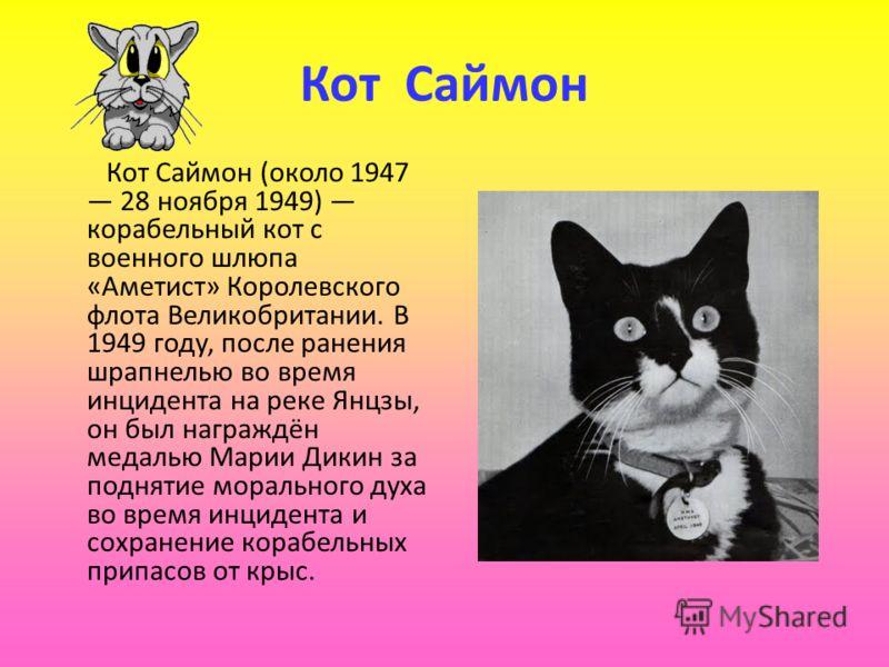 Кот Саймон Кот Саймон (около 1947 28 ноября 1949) корабельный кот с военного шлюпа «Аметист» Королевского флота Великобритании. В 1949 году, после ранения шрапнелью во время инцидента на реке Янцзы, он был награждён медалью Марии Дикин за поднятие мо