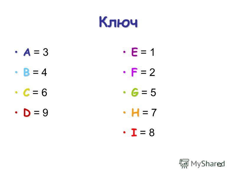 12 Ключ АА = 3 ВВ = 4 СС = 6 DD = 9 ЕЕ = 1 FF = 2 GG = 5 НН = 7 II = 8