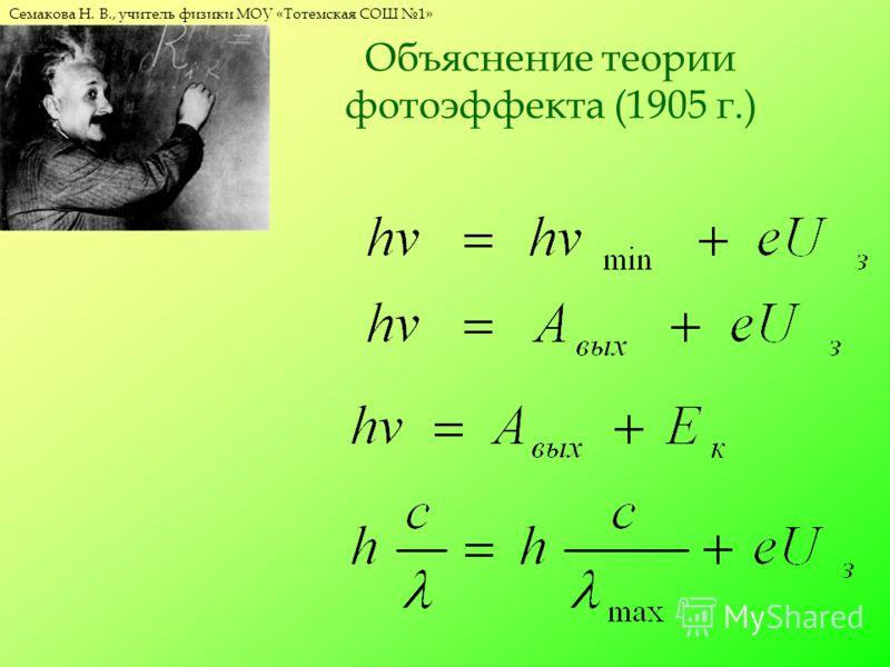 Семакова Н. В., учитель физики МОУ «Тотемская СОШ 1» Объяснение теории фотоэффекта (1905 г.)