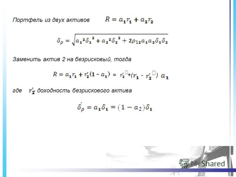 Портфель из двух активов Заменить актив 2 на безрисковый, тогда = +( - ) где - доходность безрискового актива