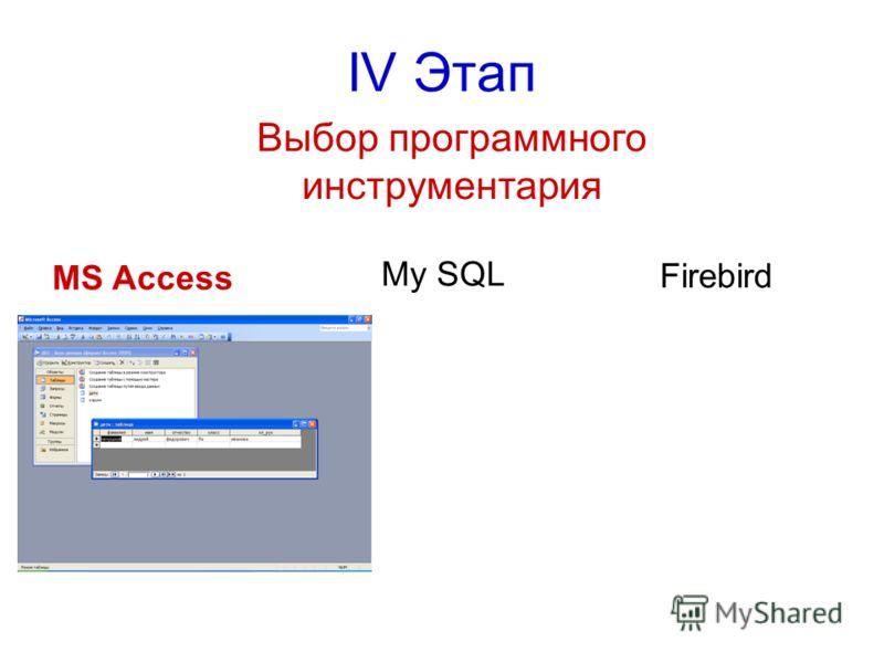 IV Этап Выбор программного инструментария MS Access My SQL Firebird