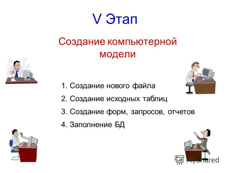V Этап Создание компьютерной модели 1.Создание нового файла 2.Создание исходных таблиц 3.Создание форм, запросов, отчетов 4.Заполнение БД